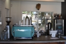 To business. The counter is a simple affair, espresso to the left, bulk-brew to the right.