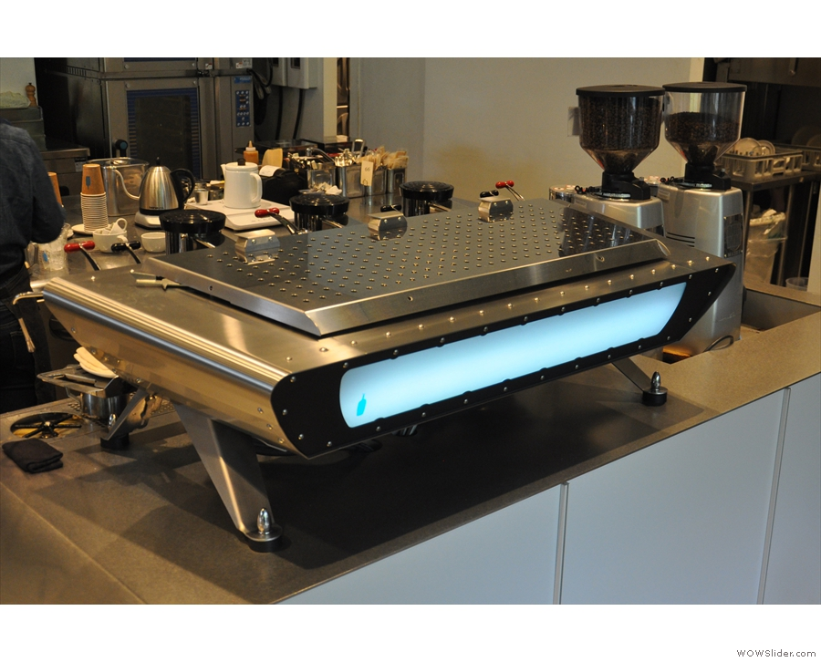 At the far end are the lovely, low-slung lines of the Kees van der Westen espresso machine.