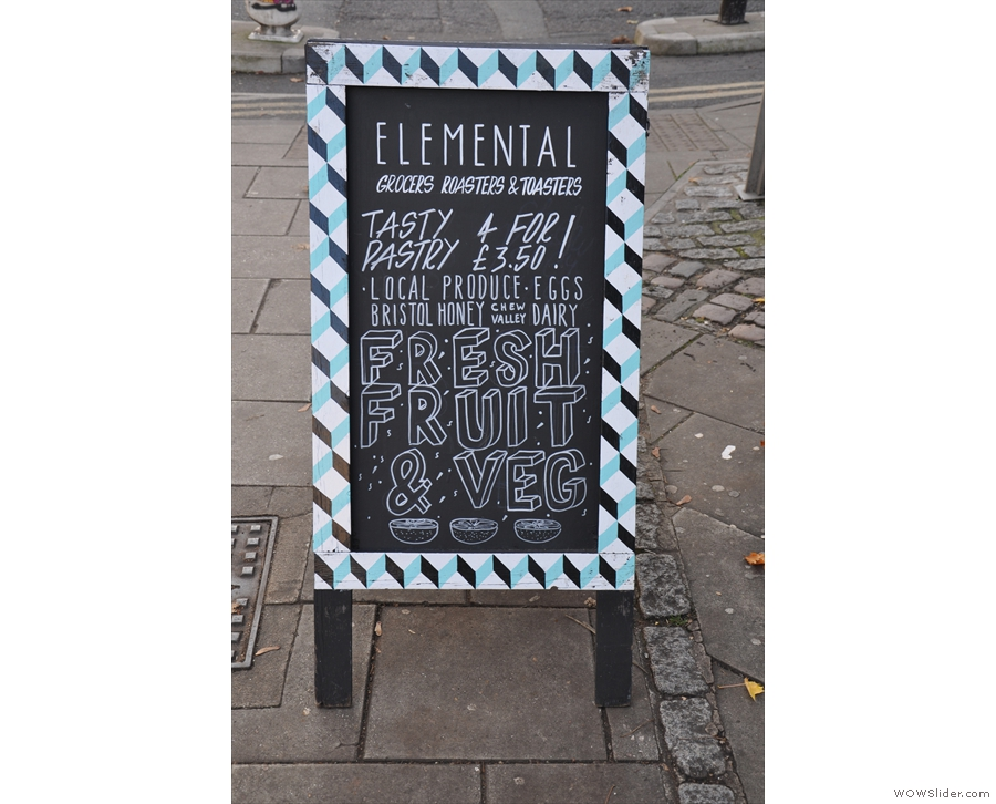 The A-board gives the game away: we're here to visit the Elemental Collective.