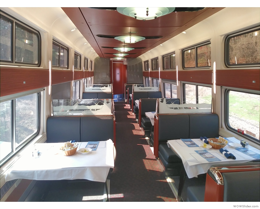 There are three coach class cars, a cafe car, then this, the glorious dining car.