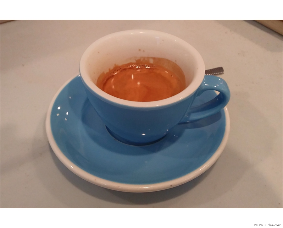 I rounded things off with a double espresso of the single-origin, a Colombian Hulia.