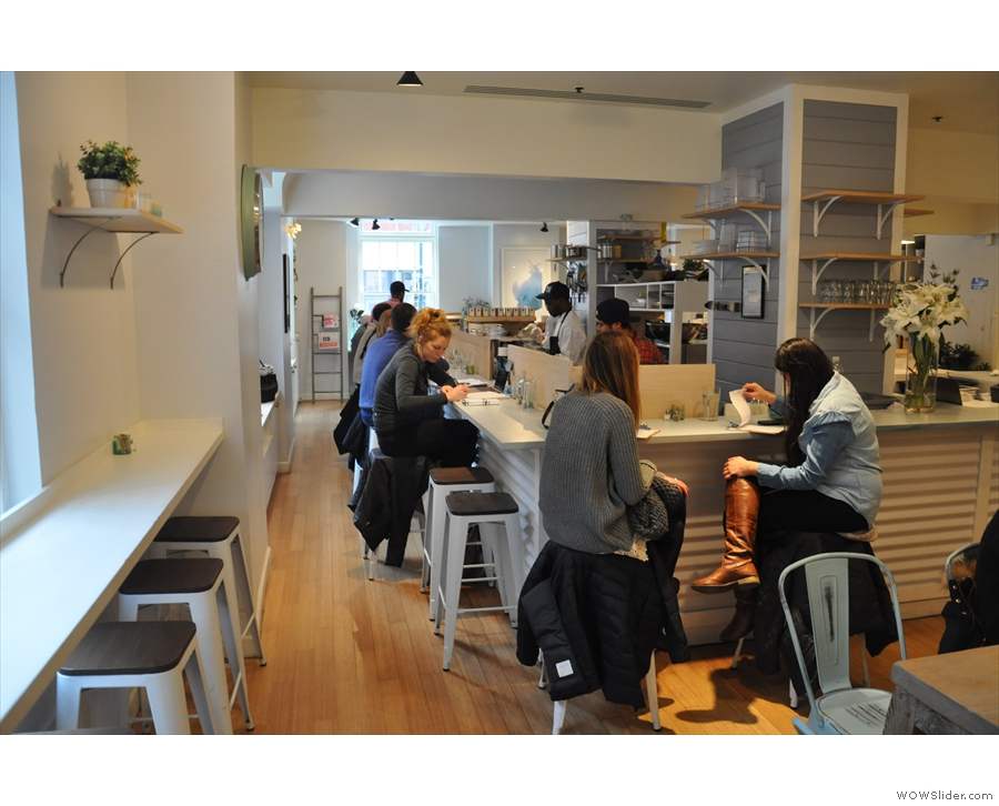A view of the counter seating as seen from the back...