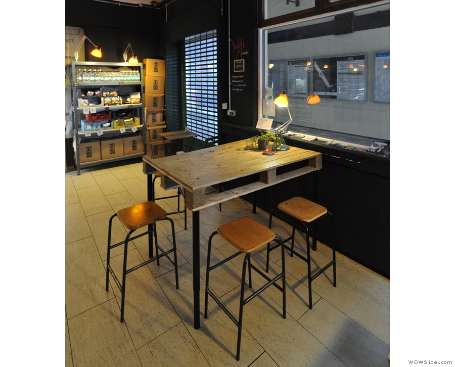 ... and this five-person table with its high stools...