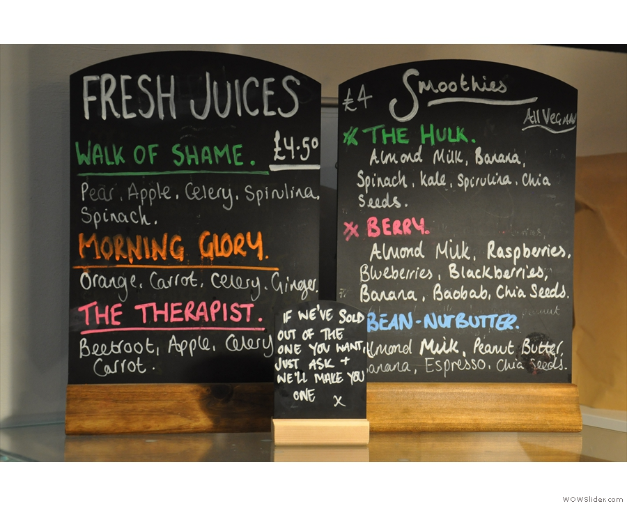 ... while there are fresh juiices and smoothies should the fancy take you.