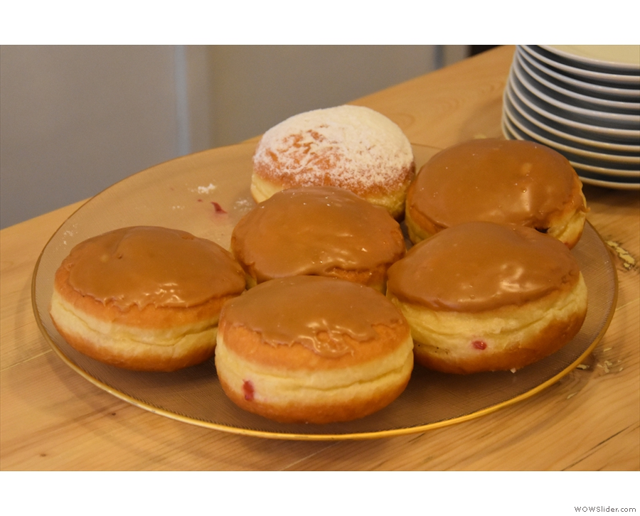 ... leaving the front of the counter clear for cakes, such as these doughnuts.