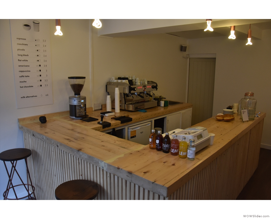 Down to business. The large counter is lovely and uncluttered.