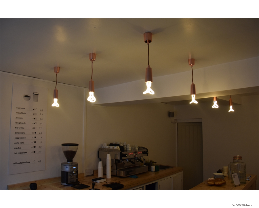 While there's plenty of light from the window, there are also lots of light-fittings.