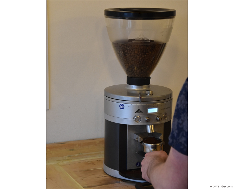 ... on its own, so returned to the counter to order an espresso. First, grind a dose.