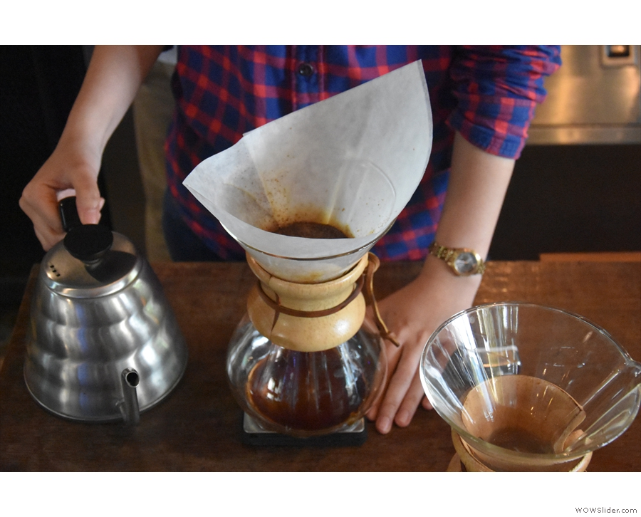 ... with a short pause between each one to allow the coffee to filter through.