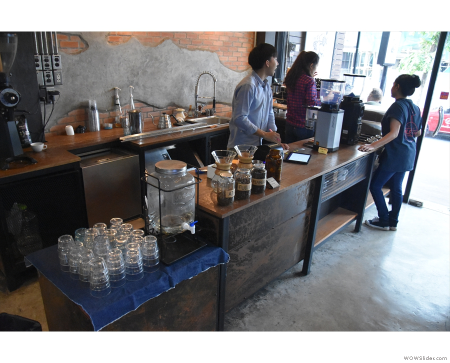 To business. At the far end of the counter is the water station and pour-over section.