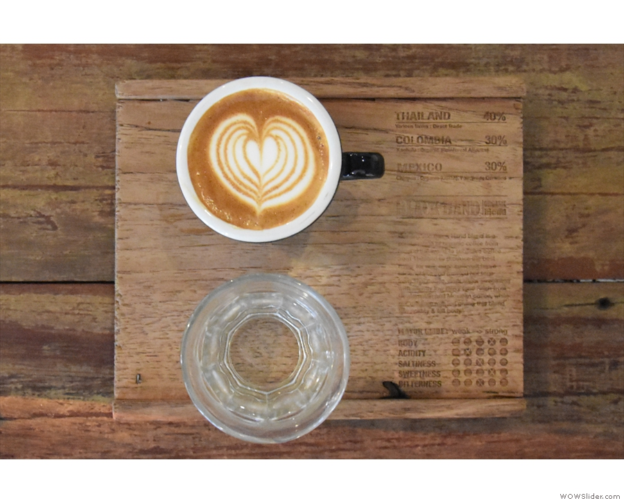 ... which is beautifully presented on a wooden tray with details of the espresso blend.