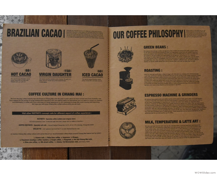 There's a neat section at the back discussing the coffee philosophy...