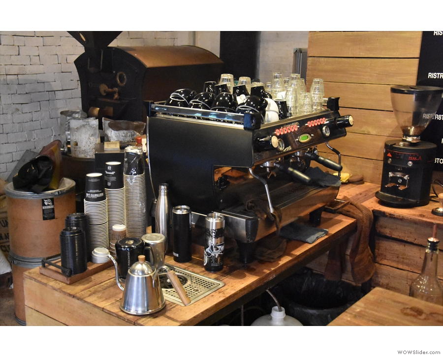 The espresso all comes from this two-group La Marzocco GB5 machine.