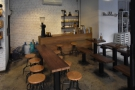 The communal table is long and very thin...