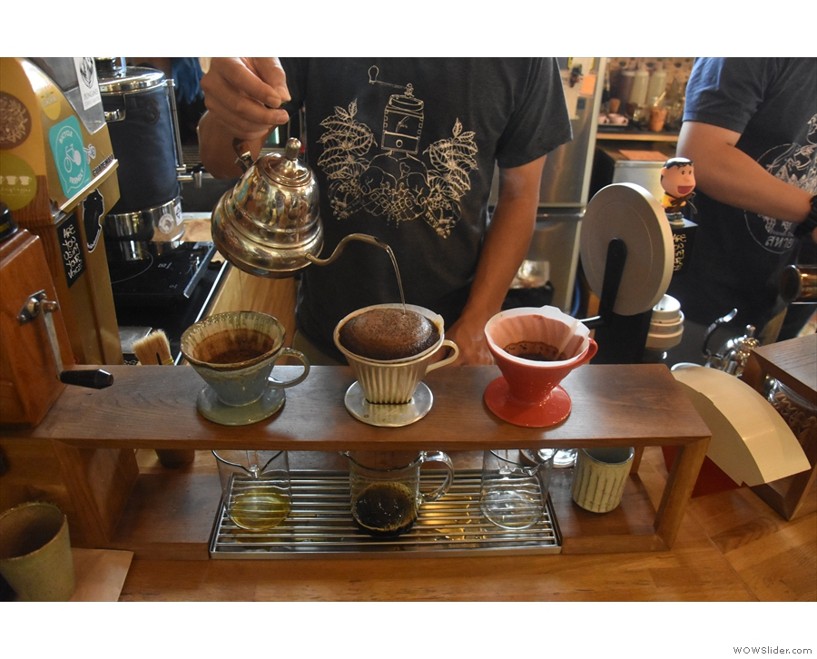 I was fascinated by the way the coffee was continually poured onto the top of the...