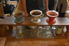 There are actually two type of filter in use, the V60, and, centre, the Melitta Wave.