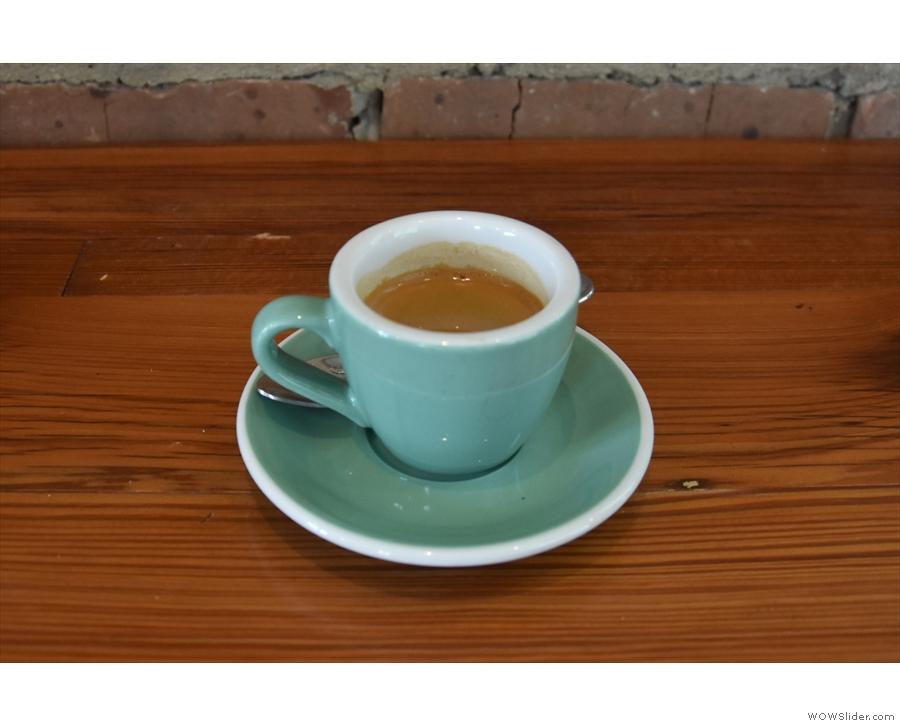 My espresso, the Burundi guest single-origin, on its own...