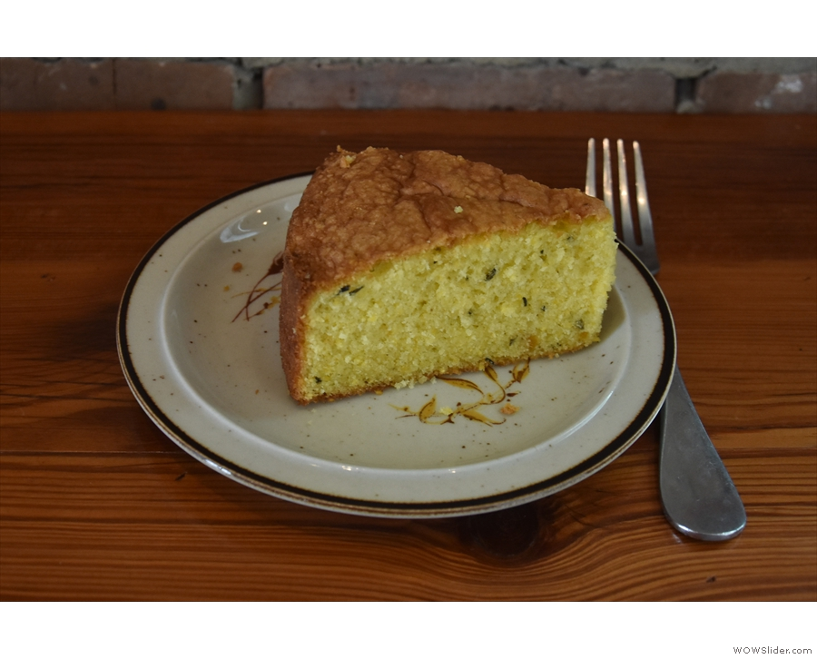 I paired it with a slice of the olive oil and rosemary polenta cake...