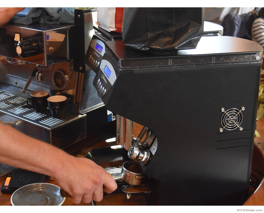 First step, grind. There are two Mythos 1 grinders for house-blend and guest espresso.