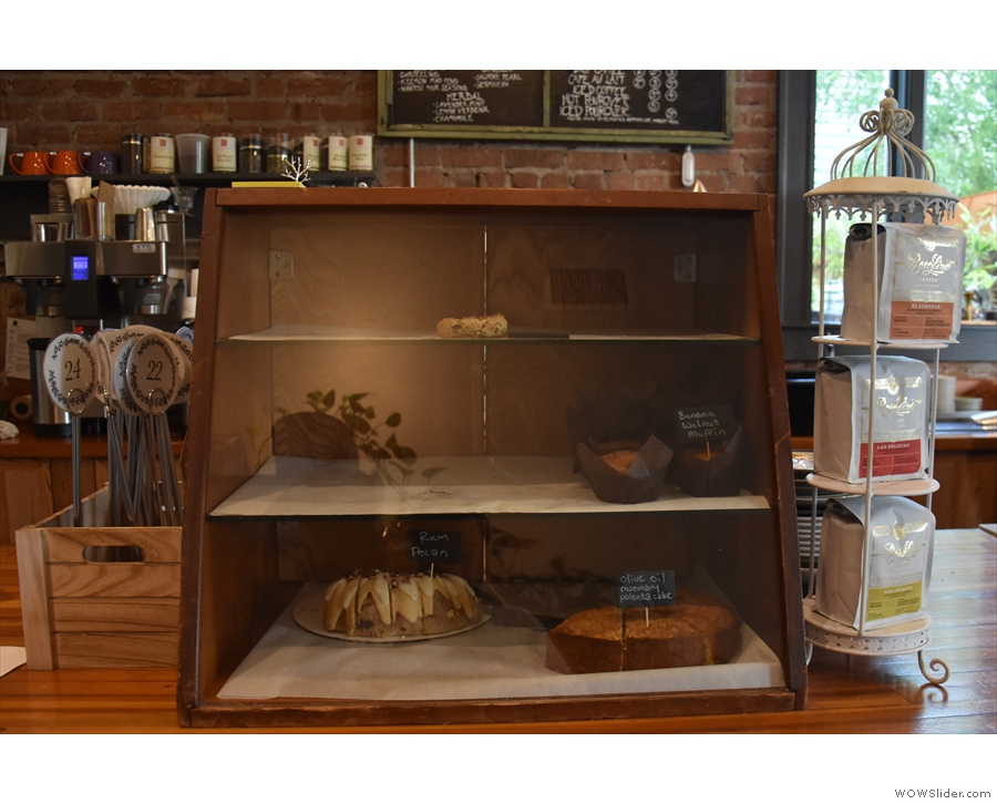 There are cakes at the end of the counter, and, if you're early enough, breakfast/lunch.