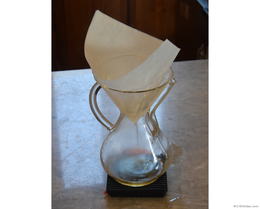 ... then rinse. The Chemex have their own brew-bar area at the front of the counter...