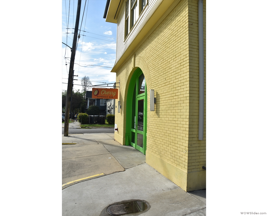 ... stands this two-storey yellow, brick building. This is the view from the east along Laurel.