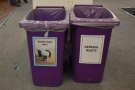 ... with recycling bins next to general waste bins, and in greater numbers than last year.