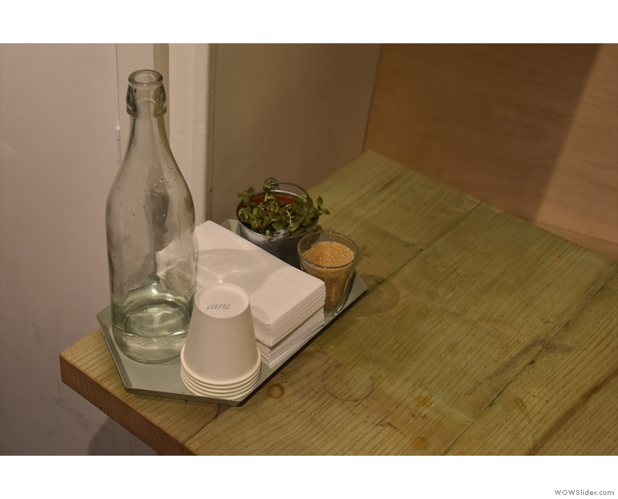 Another neat touch is the presence of a bottle of water on each table.