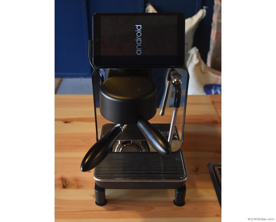 My first close up view of a prodution model of the Decent Espresso machine.