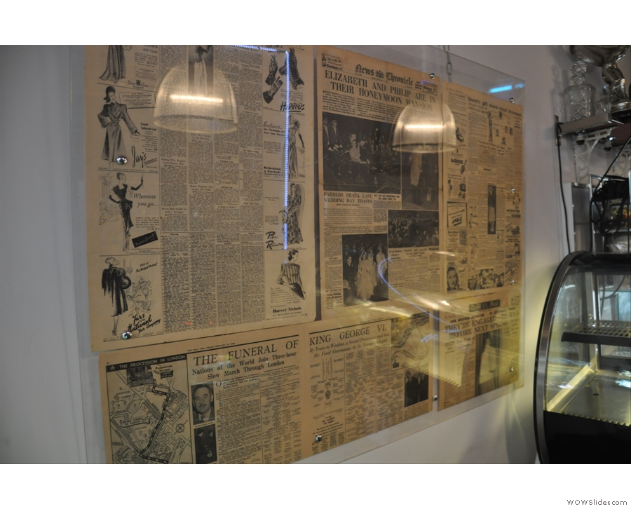 1950s newspapers decorate the wall...