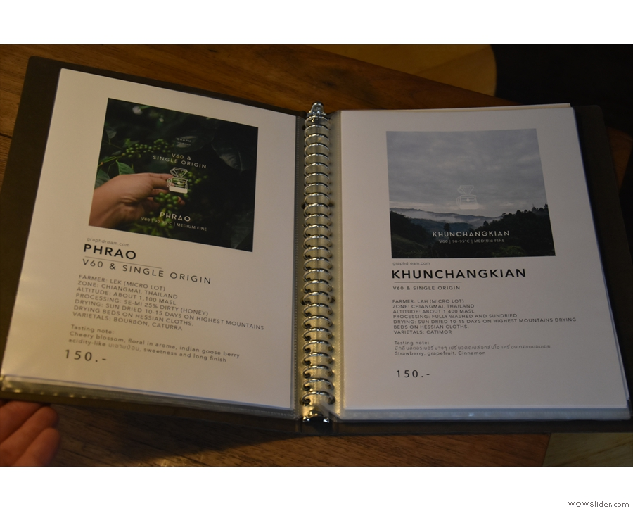 ... while each single-origin has its own page of information.
