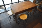 The communal table will seat six on low stools...