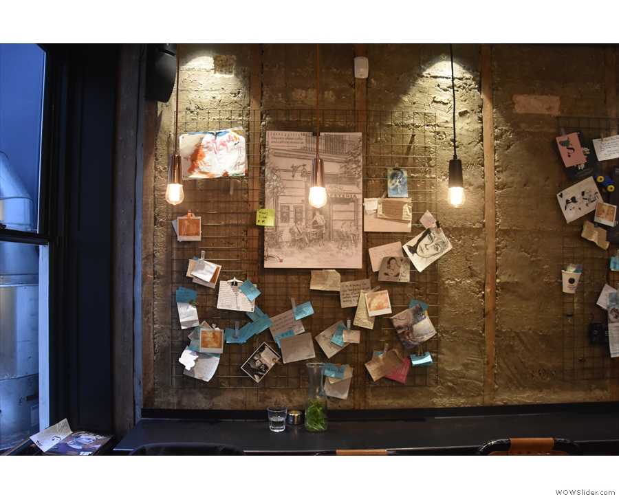 The bar at the back has an interesting notice board where people can leave messages.