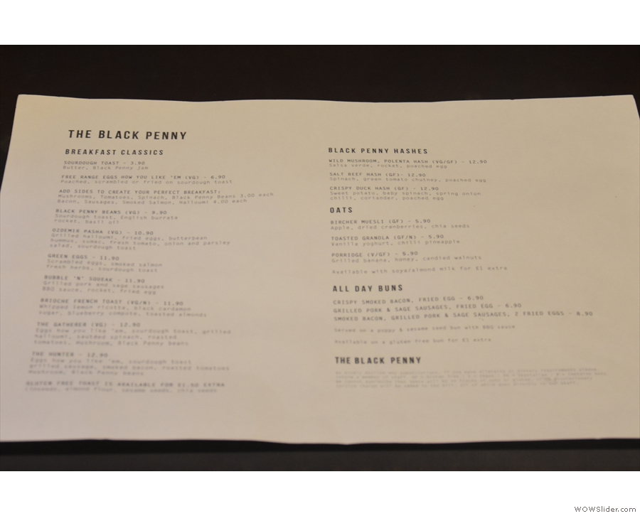 ... because The Black Penny offers table service, complete with a food menu...
