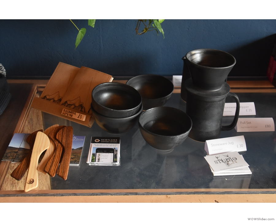 There's a range of ceramics from the workshop, including jugs, bowls and cups...