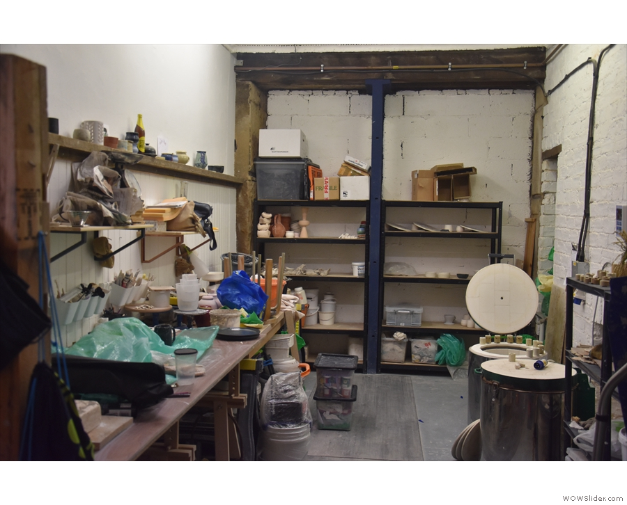 The last bit of the space is home to a ceramics workshop.This is key to the whole concept...