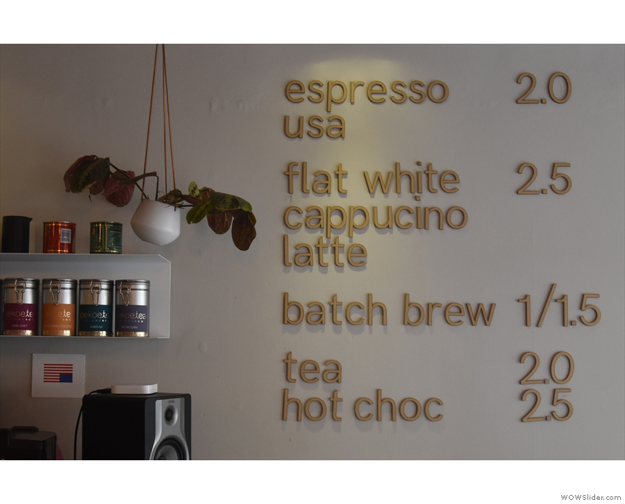 ... with the concise drinks menu on the wall next to the counter.