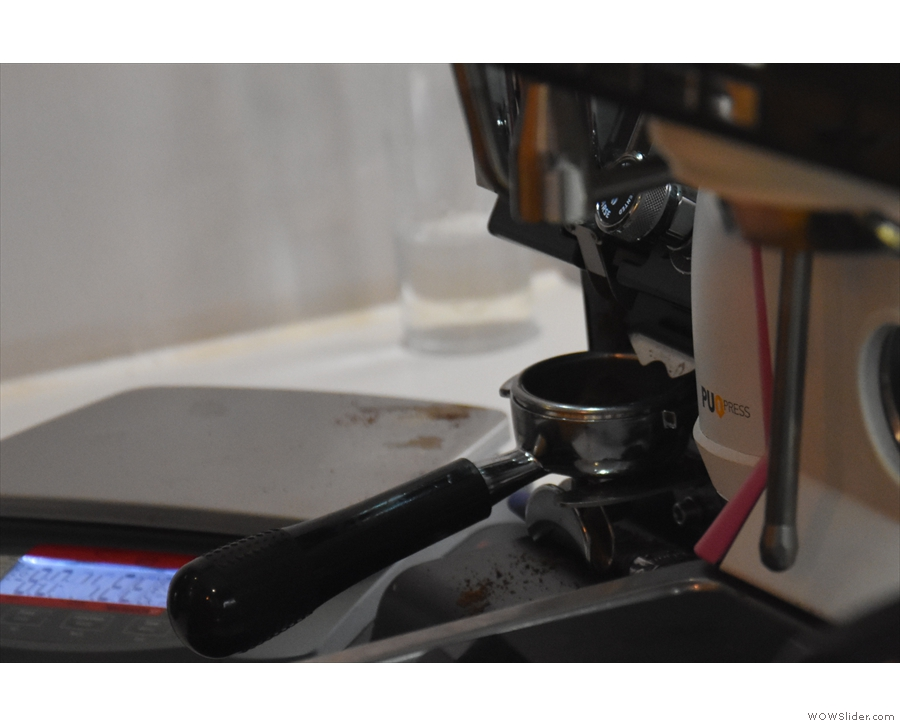 You can stand at the counter (the till's on the left) and watch your espresso being made.