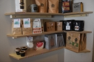 There's a small selection of cups, books and coffee filters, plus lots of coffee...