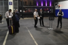Two check-in desks, Glasgow (left), Edinburgh (right), await you at the platform entrance.