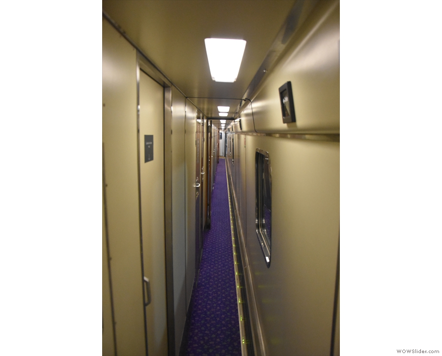 Once aboard, I'm off to find my cabin. The passageways of the sleepers are really narrow.