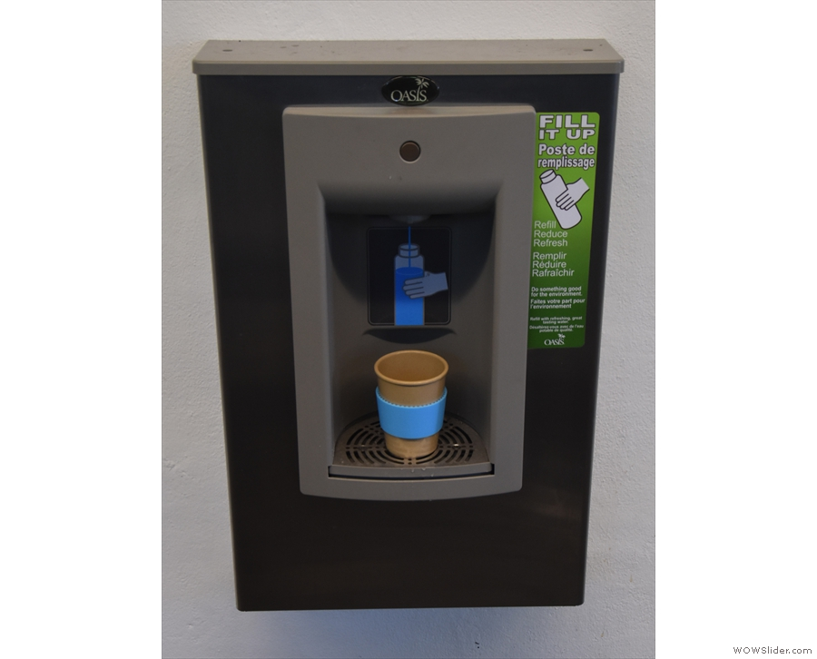 Best of all, lots of free water fountains. Good for hydrating & good for washing cups too.