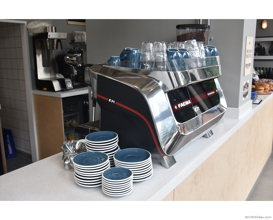 The heart of the coffee operation is the Faema F71 espresso machine...
