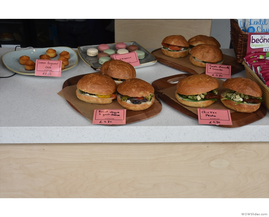 There's a small selection of cakes and, if you're in a hurry, premade sandwiches.