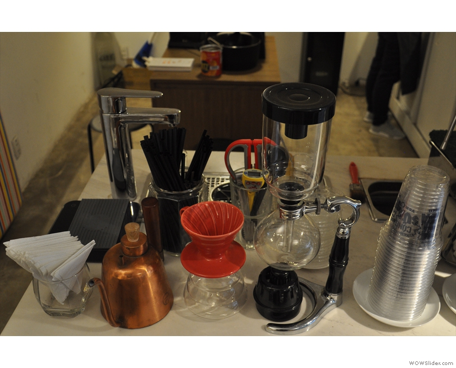 The left-hand end is home to the pour-over section, with a variety of methods on offer.