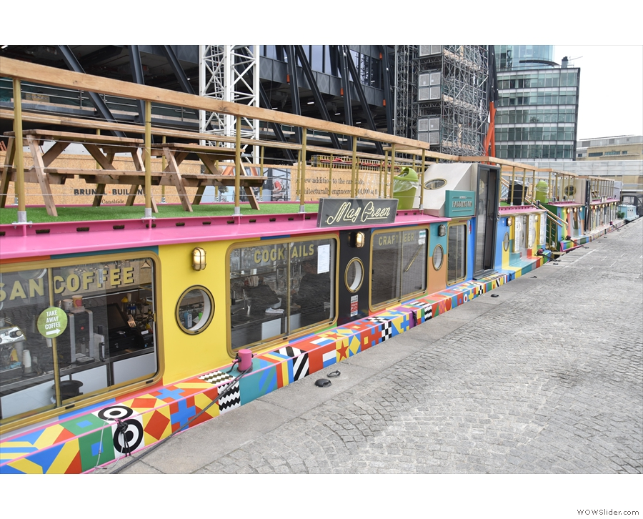 Or take in the view along the multi-colour canal boats, designed by Peter Blake.