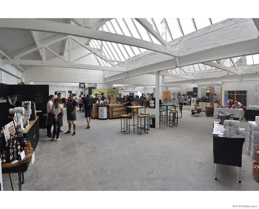 The rest of the festival, in its bright and airy hall, stretches off to the left.