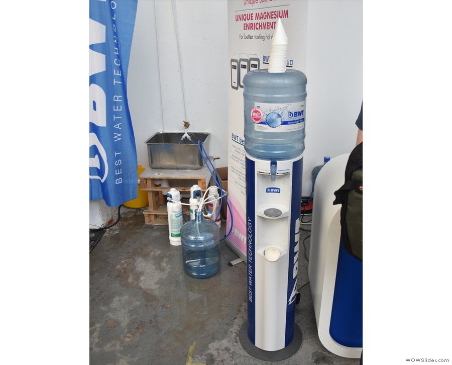 I'll end with BWT, providing much-needed multiple water stations throughout the space.