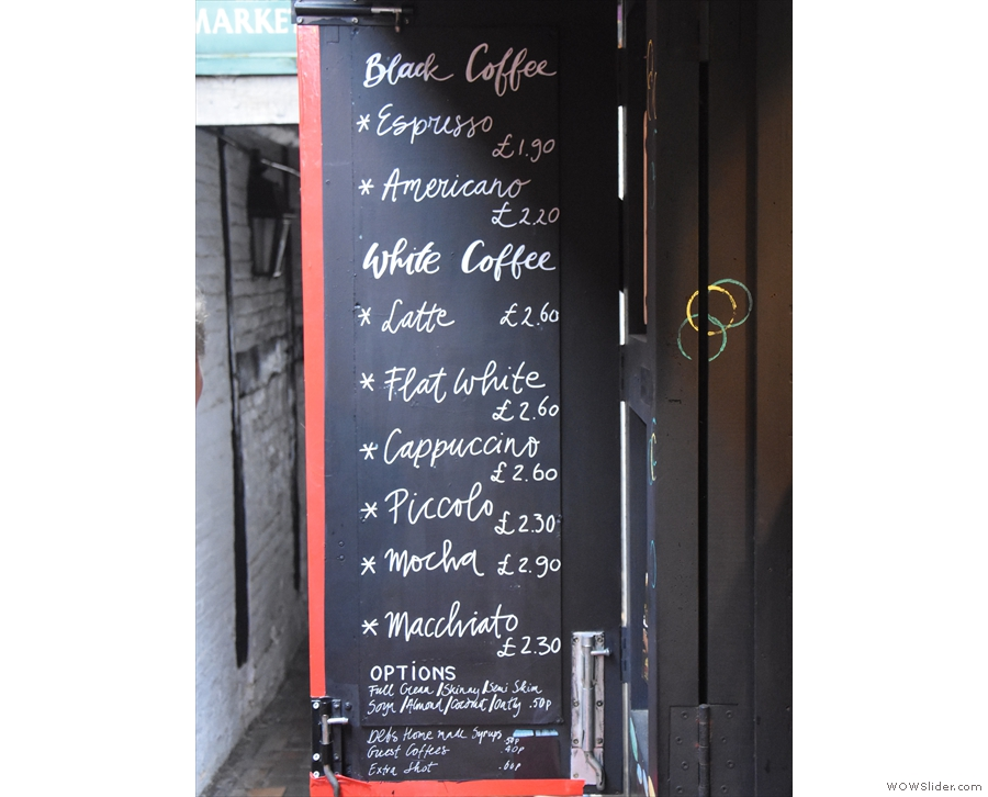... particularly on the inside, where we have the coffee menu on the left...