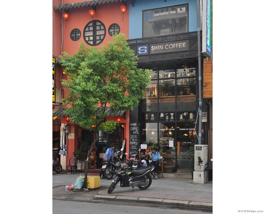 On a busy street in the heart of Ho Chi Minh City stands this narrow, two storey facade.